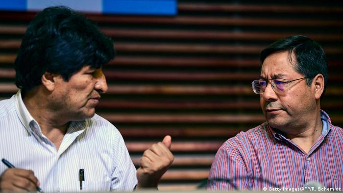 Foto de Luis Arce y Evo Morales.