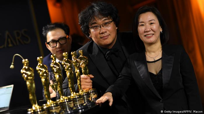 Bong Joon Ho and Team at the Oscar award ceremony after winning best picture for 'Parasite'