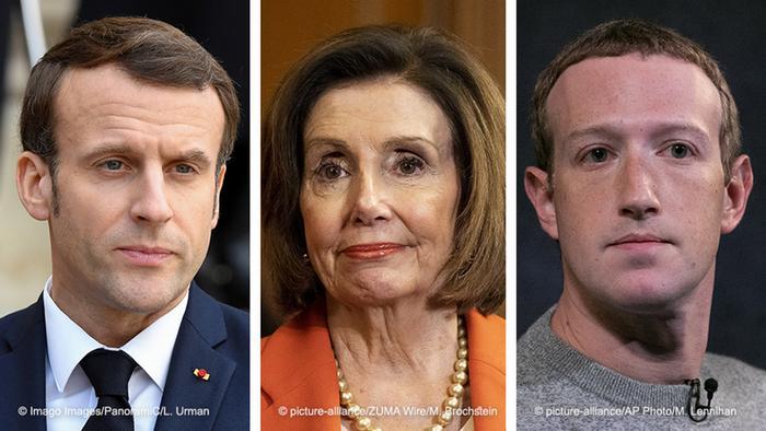 Kombobild Emmanuel Macron, Nancy Pelosi, Mark Zuckerberg