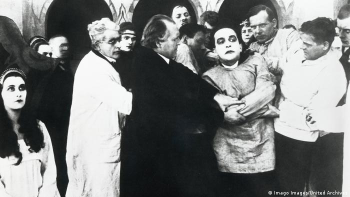 A still image from the film The Cabinet of Dr. Caligari