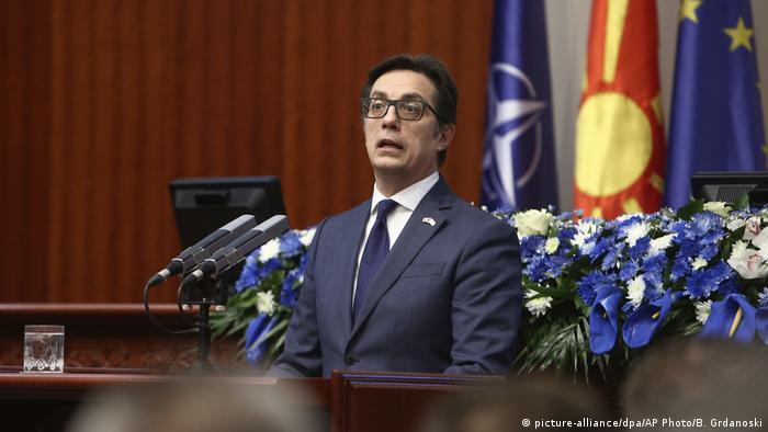 Президент Північної Македонії Стево Пендаровскі виступає в парламенті країни перед голосуванням щодо НАТО