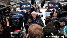 Democratic U.S. presidential candidate Senator Bernie Sanders speaks to the media at a polling station at the McDonough School on Election Day in the New Hampshire presidential primary election in Manchester, New Hampshire, U.S., February 11, 2020. REUTERS/Mike Segar