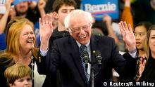 Democratic U.S. presidential candidate Senator Bernie Sanders is accompanied by his wife Jane O'Meara Sanders and other relatives as he speaks at his New Hampshire primary night rally in Manchester, N.H., U.S., February 11, 2020. REUTERS/Rick Wilking