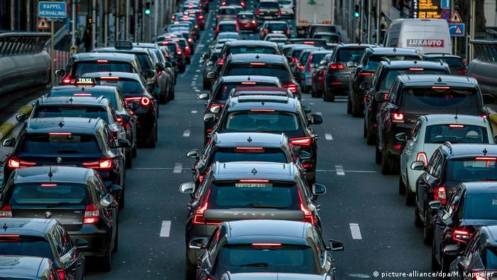 Cars tail to tail on a congested street in Brussels
