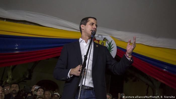 Временный президент Венесуэлы Хуан Гуайдо в Каракасе