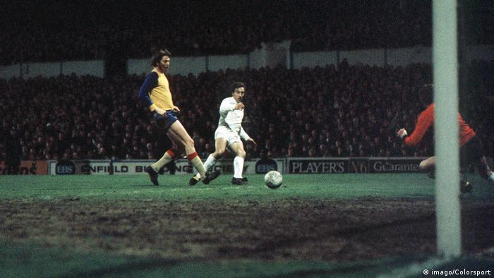 Spurs' Martin Chivers scores against Lok Leipzig in the second leg at White Hart Lane