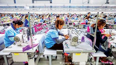 Textile workers in a factory in Takhmao, Cambodia
