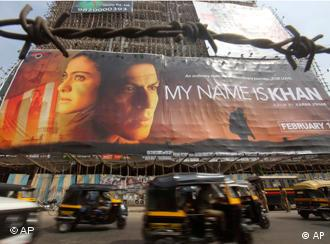 "a poster of Bollywood actor Shah Rukh Khan's new film ""My Name is Khan,"""