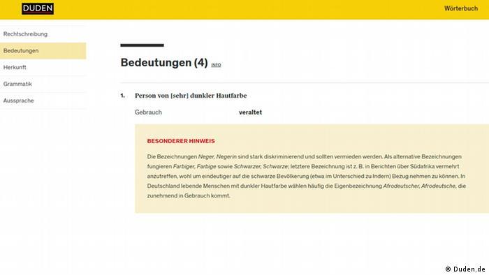 Screenshot Duden.de
