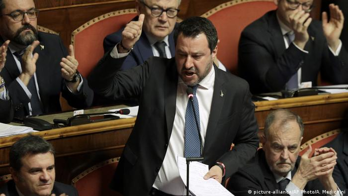 Salvini in the Italian Senate (picture-alliance/AP Photo/A. Medichini)