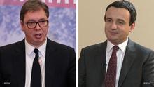 Bildkombo Präsident Serbien Vucic Ministerpräsident Kosovo Kurti