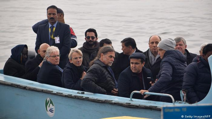 Diplomats seen riding on a boat in Dal Lake in Srinagar.