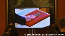 5491760 07.05.2018 The video production of the inaugural ceremony of Russian President Vladimir Putin, at the Kremlin Press Center. Maksim Blinov / Sputnik Foto: Maksim Blinov/Sputnik/dpa |