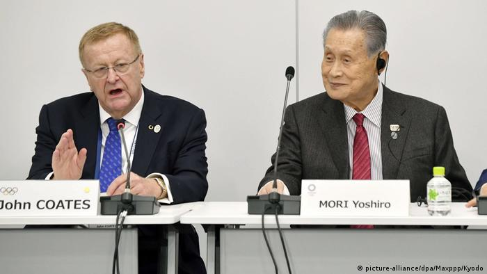 Japan Tokio | Internationales Olympisches Komitee | John Coates & Yoshiro Mori (picture-alliance/dpa/Maxppp/Kyodo)