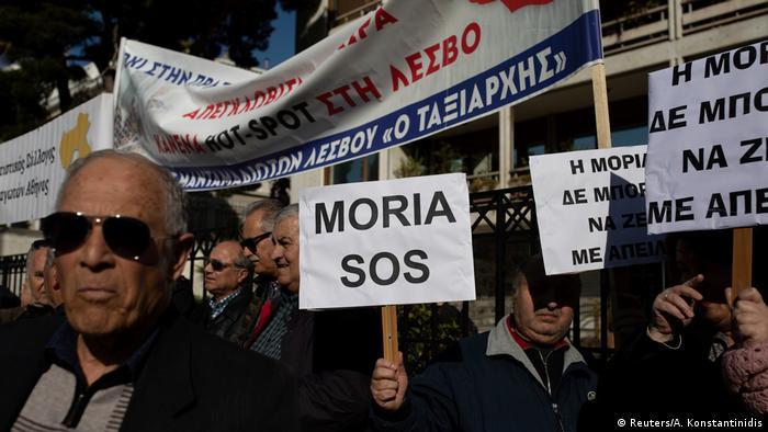 Griechenland Athen | Protest von Einwohnern der Insel Lesbos gegen Flüchtlingspolitik