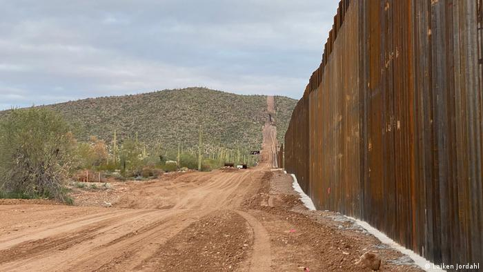 A newly completed section of the border wall in Organ Pipe Cactus National Monument