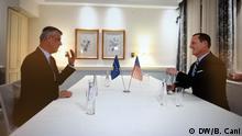 Hashim Thaci Präsident of Kosovo und US- Botschafter in Berlin richard Grenell. Zulieferung durch Bahri Cani