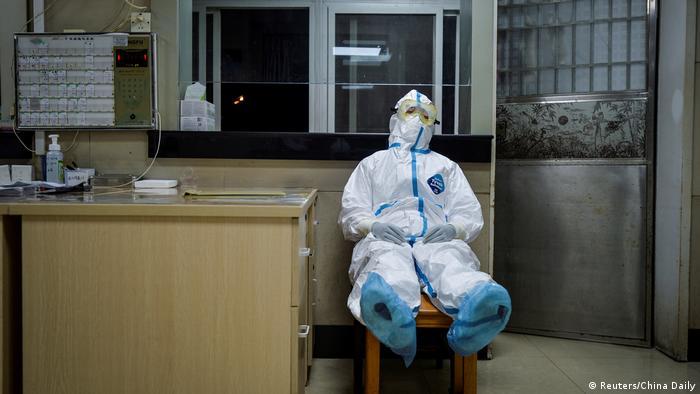 Wuhan China Krankenhausmitarbeiter Pfleger Coronavirus