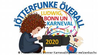 Zeichnung von Beethoven, Bonner Karneval | Motto 2020 Jötterfunke överall – Ludwig, Bonn un Karneval