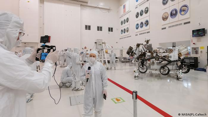 NASA 2020 Rover presented in a clean room