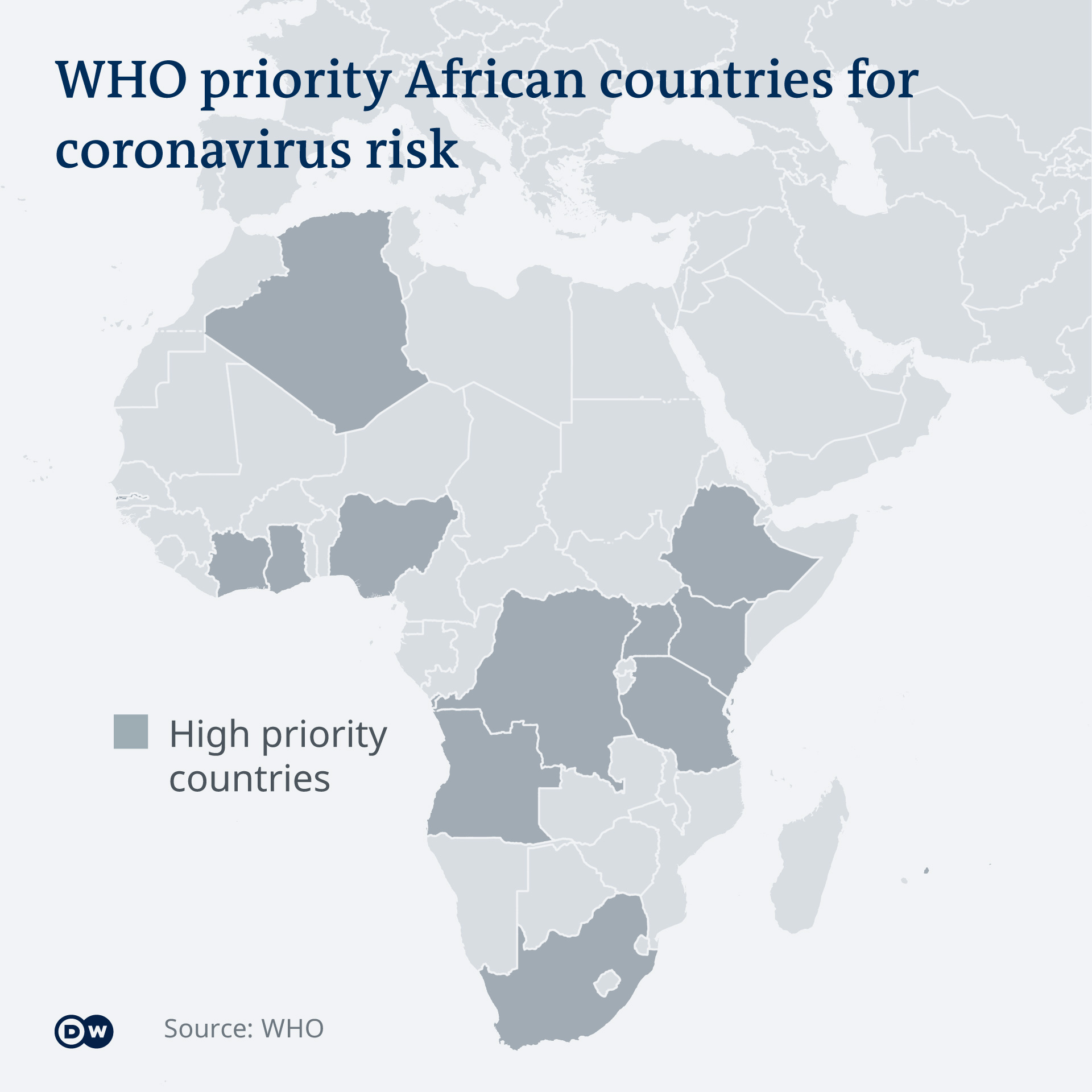 Map showing the 13 African countries prioritized by WHO for coronavirus: Algeria, Angola, Ivory Coast, Democratic Republic of the Congo, Ethiopia, Ghana, Kenya, Mauritius, Nigeria, South Africa, Tanzania, Uganda and Zambia