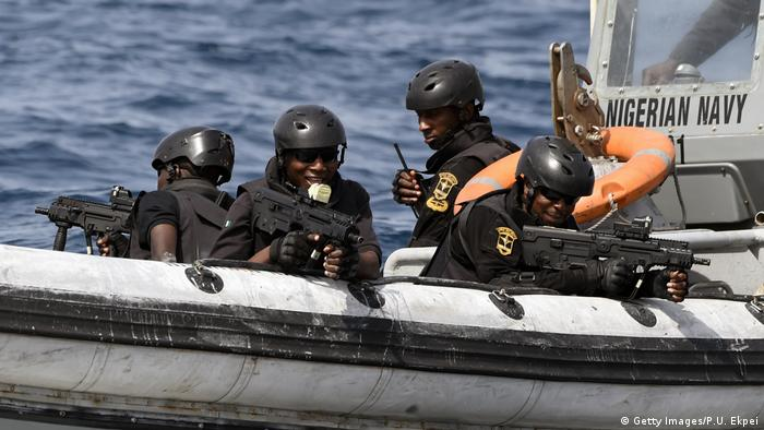 Nigerian special forces sail to intercept pirates during a joint exercise between Nigerian and Moroccan naval personnel