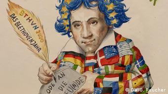 Beethoven, gezeichnet mit Feder in der Hand und Blättern auf denen Ode an die Freu(n)de steht | Entwurf Jacques Tilly und den Kölner Kritzelköpp mit Dirk Schmitt