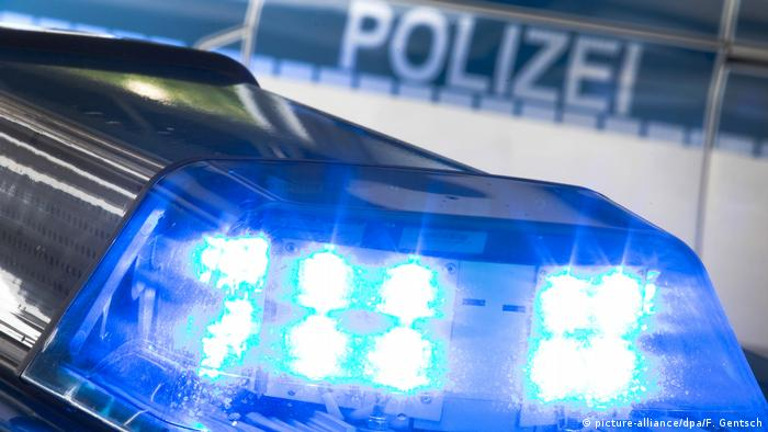 Blue lights on a police car in Germany