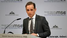 German Foreign Minister Heiko Maas speaks at a panel during the annual Munich Security Conference in Munich, Germany February 14, 2020. REUTERS/ Andreas Gebert