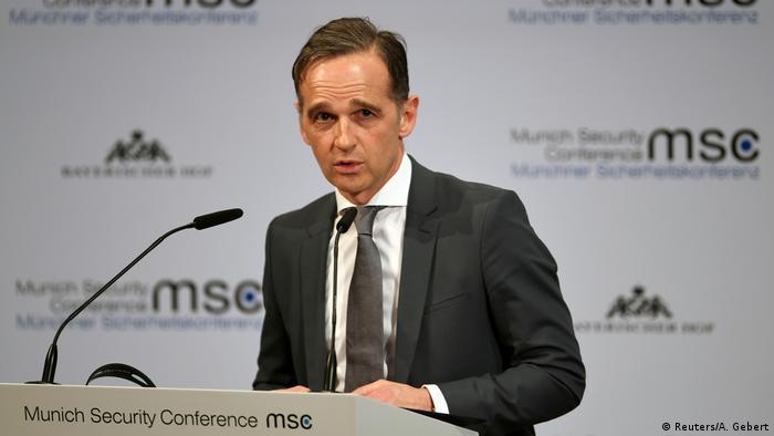 هايكو ماس، وزير الخارجية الألماني، يلقي خطابه أمام مؤتمر ميونيخ للأمن.