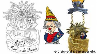 Collage aus Zeichnung und Orden mit Kaiser Karl am Klavier. AAK und Beethoven-Orden