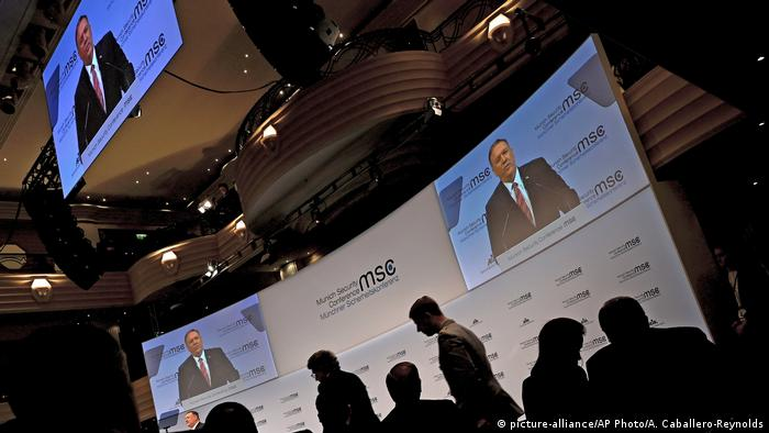 U.S. Secretary of State Mike Pompeo speaks on the podium during the 56th Munich Security Conference