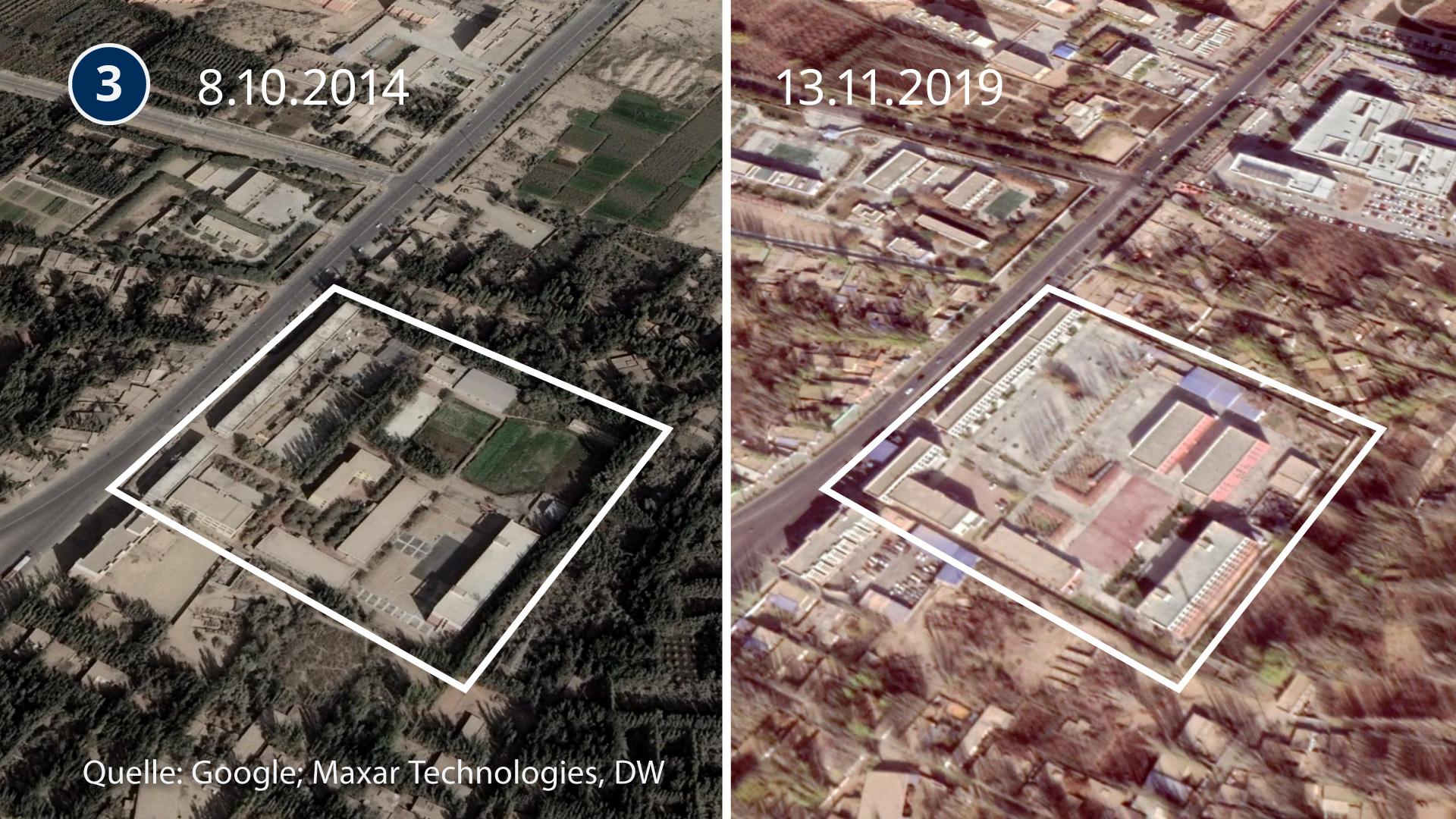 DW смогла определить местонахождение трех исправительных лагерей в Синьцзяне