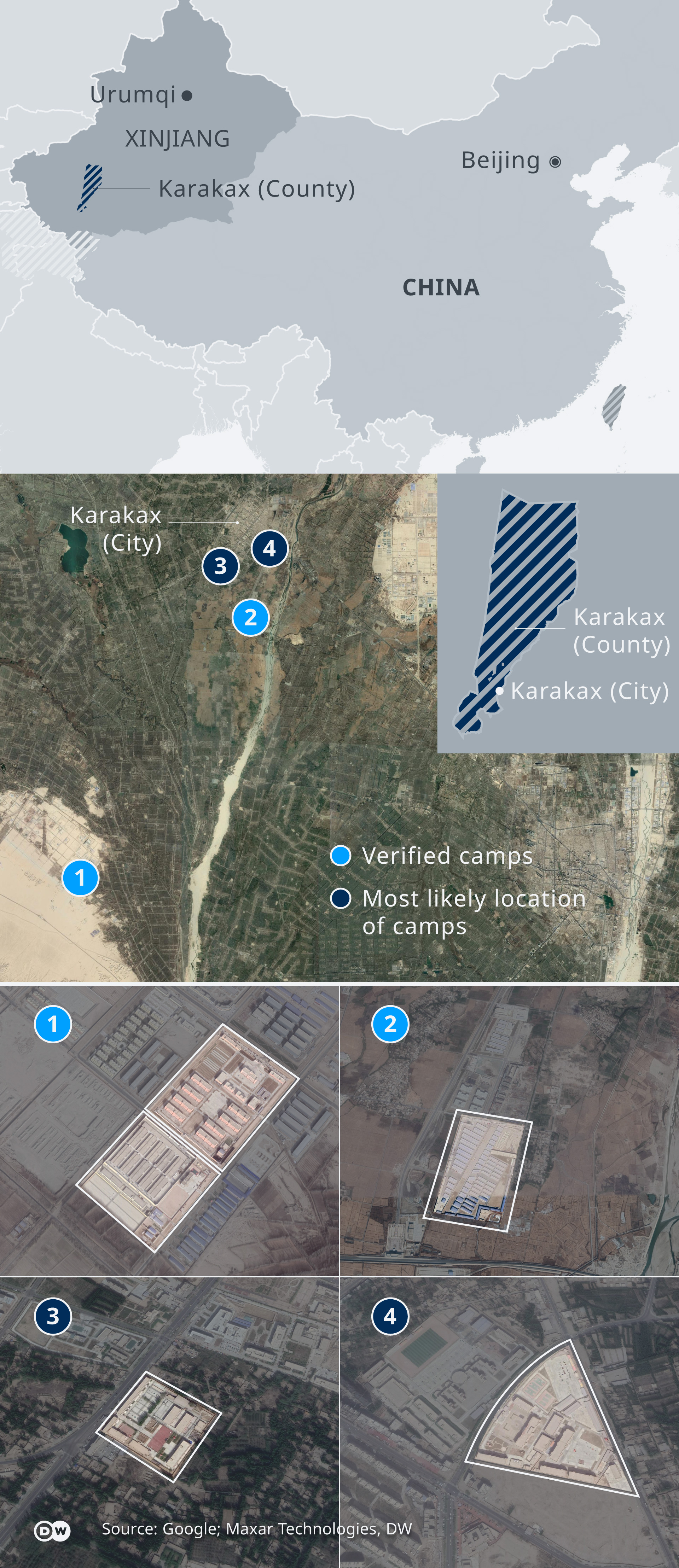 A map of Karakax County and satellite images of Chinese 're-education' camps