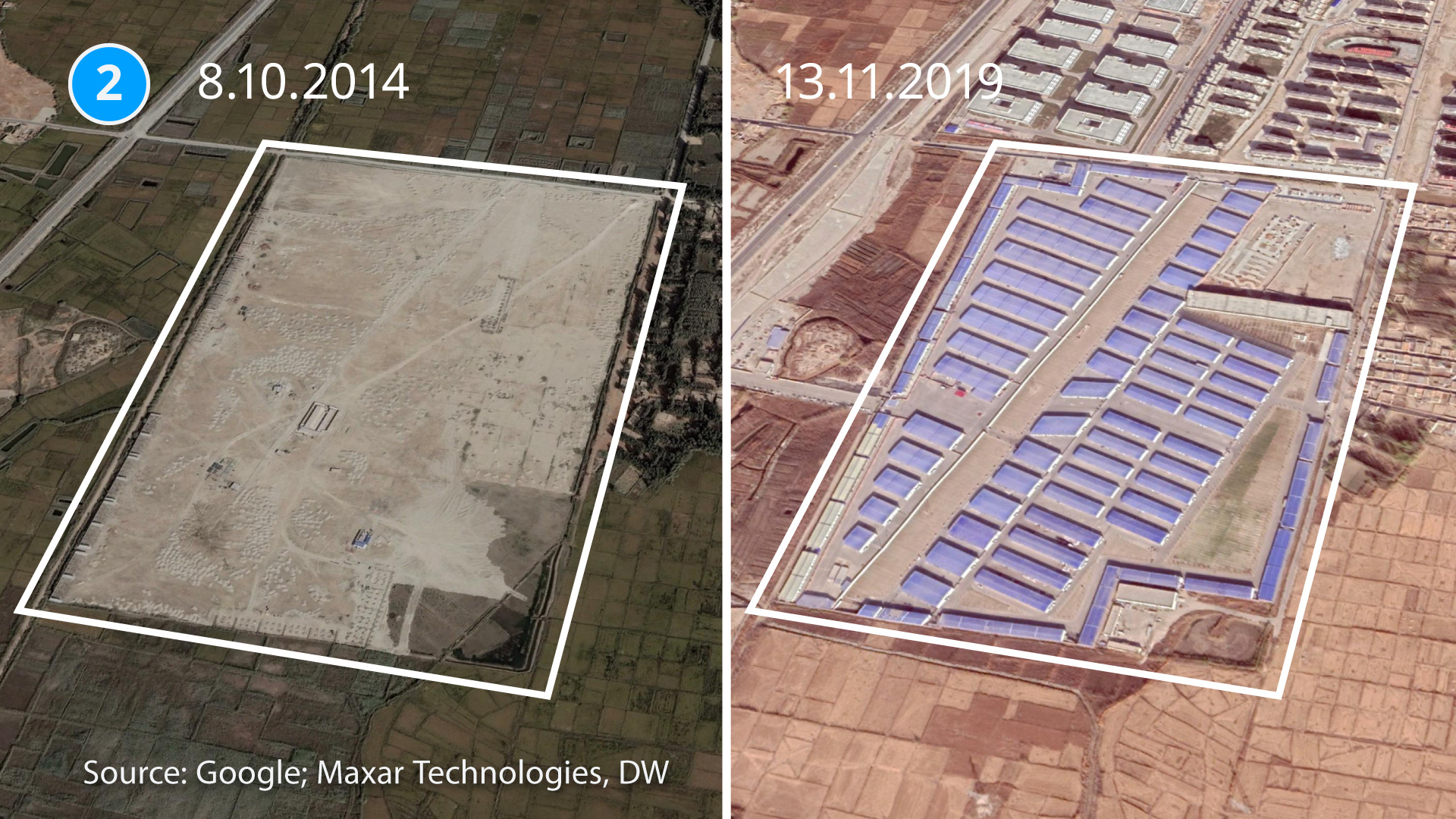 A satellite image of one of five newly built 're-education' camps in Hotan County, Xinjiang, China