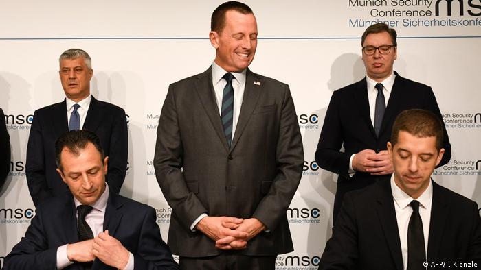 Thaci, Grenell i Vučić na Minhenskoj konferenciji o sigurnosti u veljači 2020. godinee