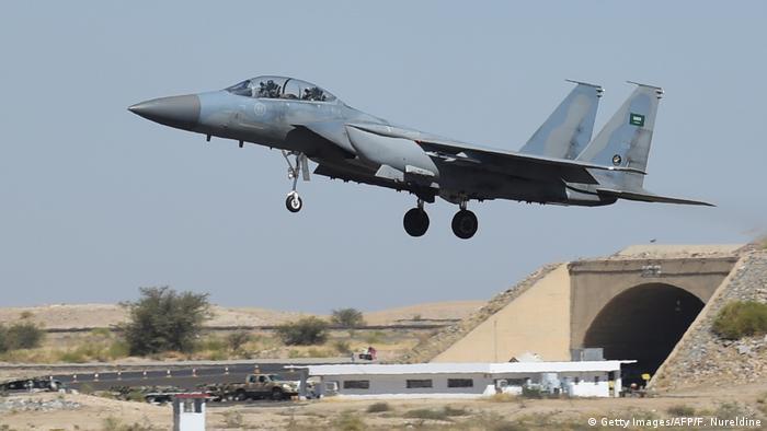 A Saudi fighter jet taking off