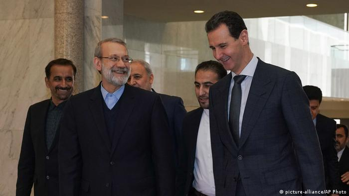 Bashar Assad, Ali Larijani (picture-alliance/AP Photo)