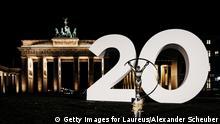 BERLIN, GERMANY - OCTOBER 07: The Laureus Statue is seen in front of the Brandburger Gate on October 6, 2019 in Berlin, Germany. (Photo by Alexander Scheuber/Getty Images for Laureus)