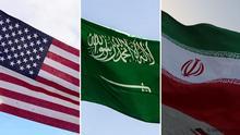 Bildkombo Flaggen USA Saudi-Arabien Iran