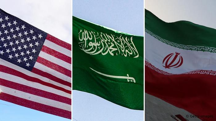 USA Saudi Arabia Iran flags side by side in bild combo