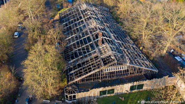 Aerial view of the burned out monkey house at the Krefeld Zoo in Germany's North Rhine-Westphalia