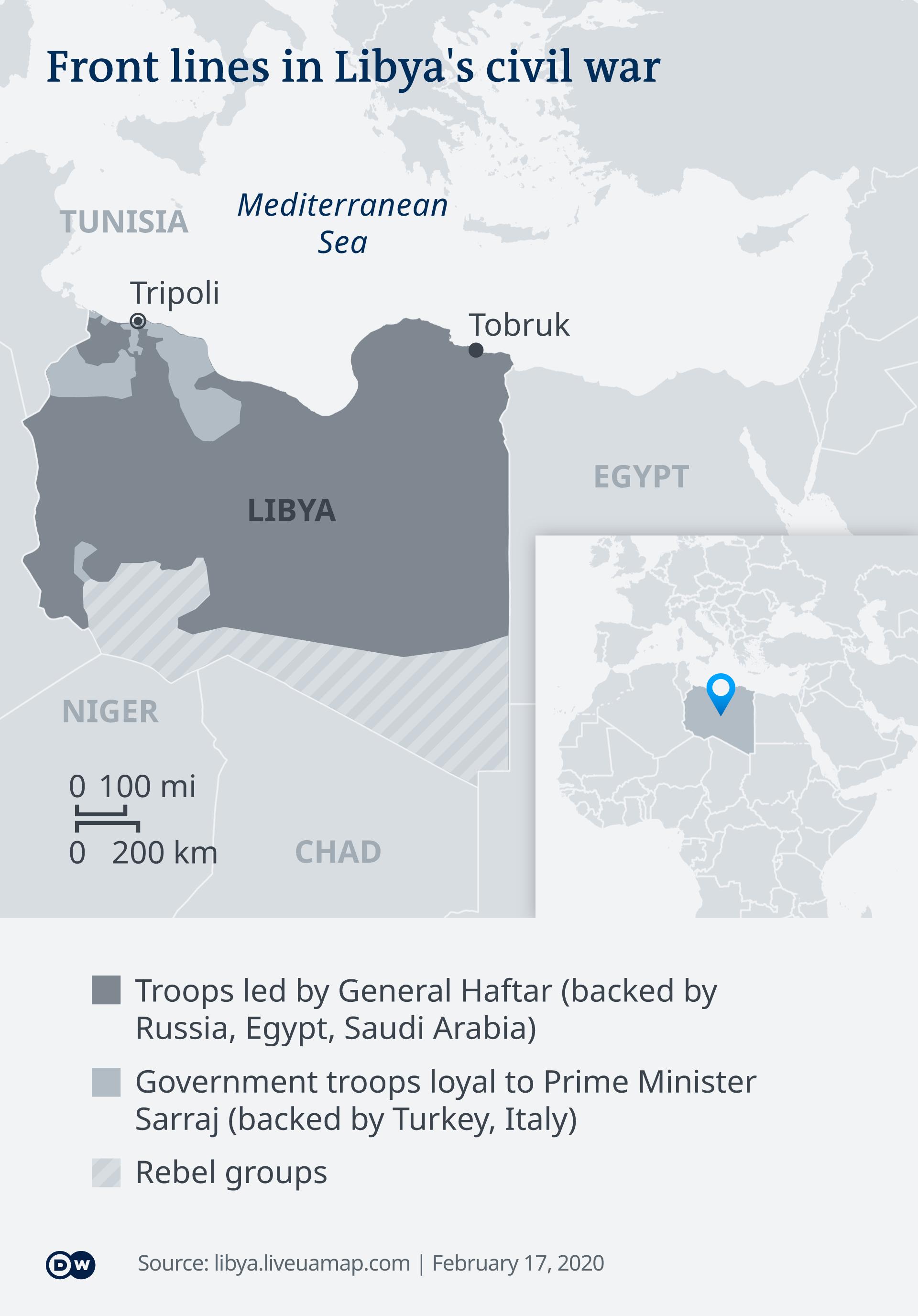 Infografik Karte Libyien Frontverlauf EN
