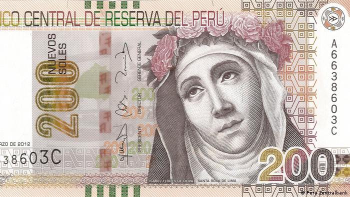 El rostro de Santa Rosa de Lima figura en el billete de 200 soles peruanos.