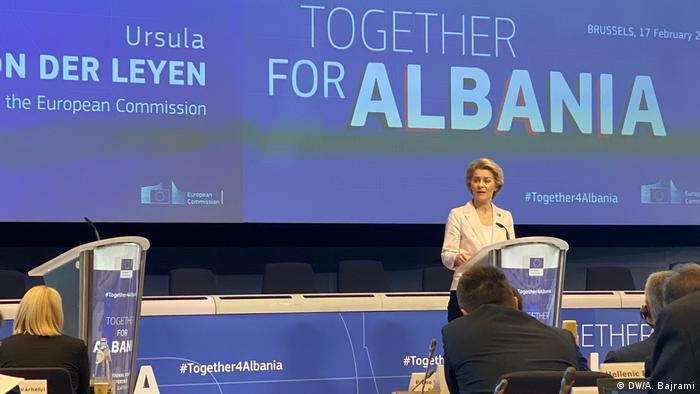 Brüssel von der EU Donations Konferenz für Albanien (DW/A. Bajrami)