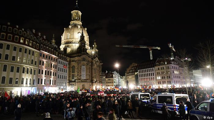 Protesters gather in Dresden