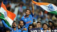 Indian batsman Sachin Tendulkar is carried on his teammates shoulders after India defeated Sri Lanka in the ICC Cricket World Cup 2011 final played at The Wankhede Stadium in Mumbai on April 2, 2011. India defeated Sri Lanka by six wickets to win the 2011 World Cup. AFP PHOTO/William WEST (Photo credit should read WILLIAM WEST/AFP via Getty Images)