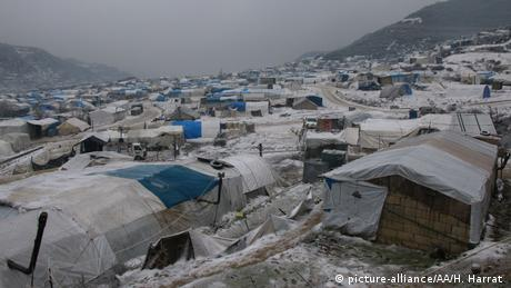 An view on a refugee camp during a freezing cold day in Idlib, Syria on February 13, 2020