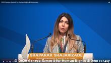 2020 Geneva Summit for Human Rights & Democracy. Shaparak Shajarizade, Menschenrechtlerin und Anti-Kopftuch Aktivistin aus Iran. Rede in Genf. https://www.youtube.com/watch?v=m5zq4ZuZ1HQ