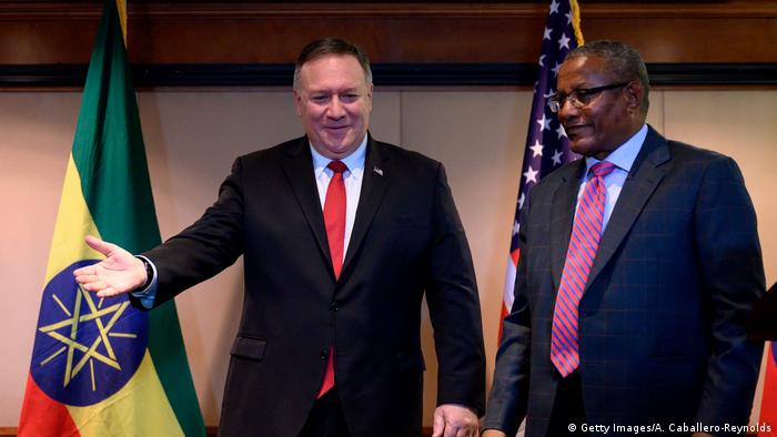 US Secretary of State Mike Pompeo with his Ethiopian counterpart Gedu Andargachew